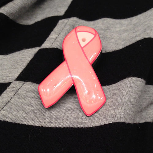 Pink Ribbon Flashing LED Light Pin for Breast Cancer Awareness, Set of 12