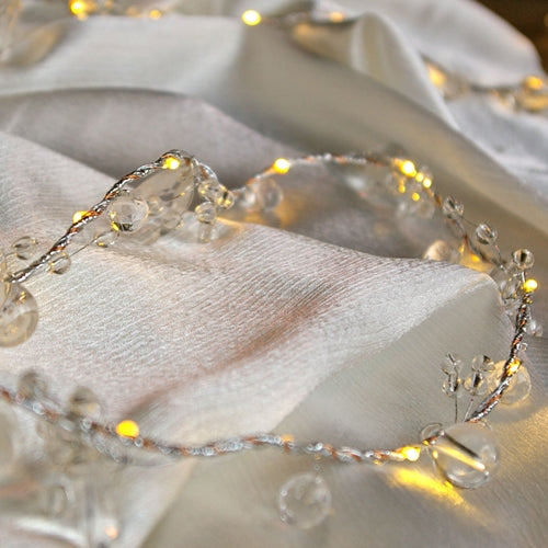 Lighted LED Garland, Battery Operated, 5 Foot Silver Wire, Warm White