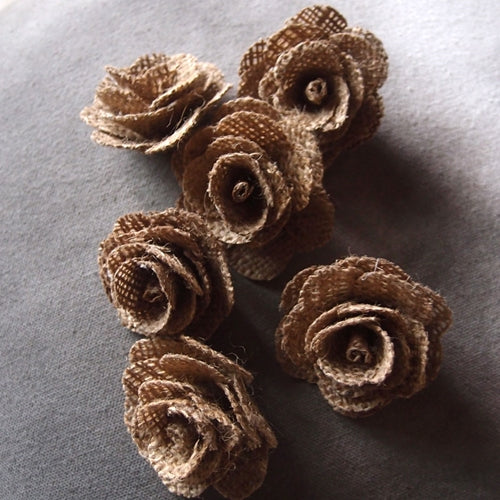 Burlap Flowers, 2 inch flowers, 6 pieces per package, BROWN