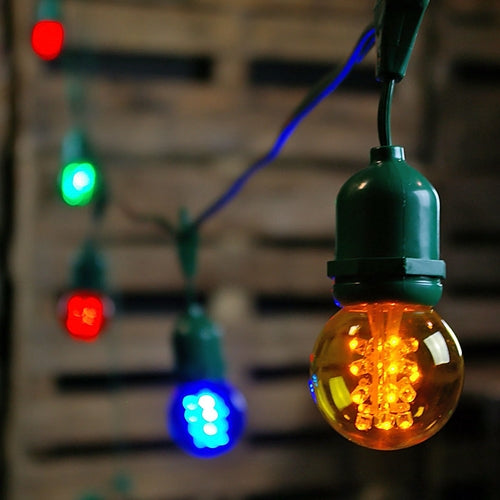 Commercial LED Globe Drop String Lights, 48 Foot Green Wire, Multi Color