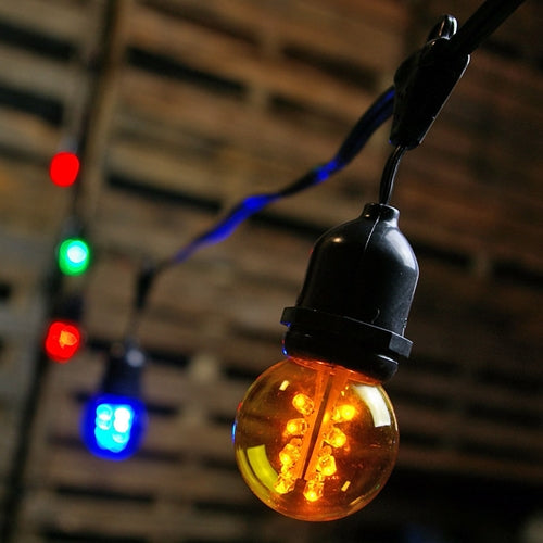 Commercial LED Globe Drop String Lights, 100 Foot Black Wire, Multi Color