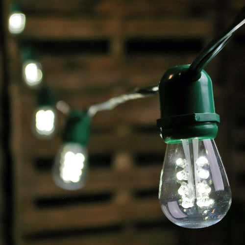 Commercial LED String Lights, S14 Bulbs, 100 ft. Green Wire, Cool White