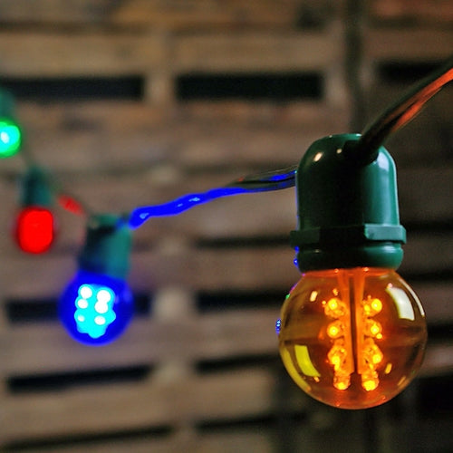 Commercial LED Globe String Lights, 100 Foot Green Wire, Multi Color