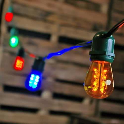 Commercial LED Edison String Lights, 48 Foot Green Wire, Multi Color