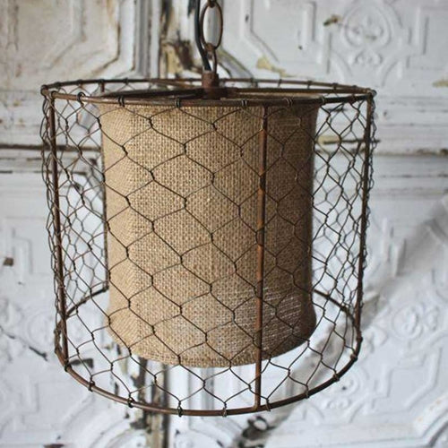 Pendant Light Lamp, Rustic Chicken Wire Shade with Burlap Center, Brown