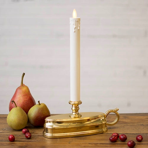 Luminara Window Candle, Battery Operated, Timer, Moving Flame, Brass