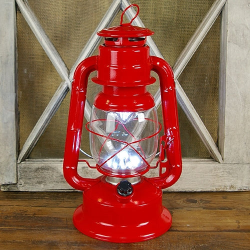Hurricane Lantern Light, 11.5 inch Red Metal, Battery Op. Dimmable LED