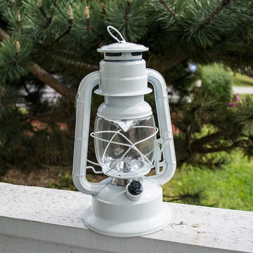 Hurricane Lantern Light, 11.5 in. White Metal, Battery Op. Dimmable LED