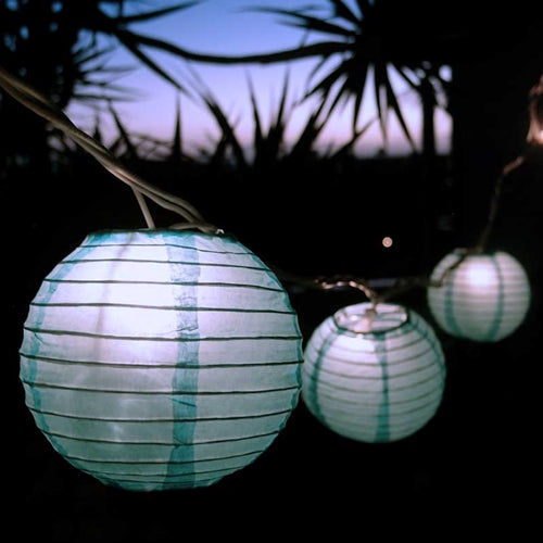 String Lights, 4 inch Round Paper Lanterns, 8.3 feet, Light Blue