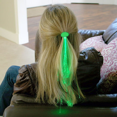 Light-up Fiber-Optic Hair Barrette, Set of 8, Green