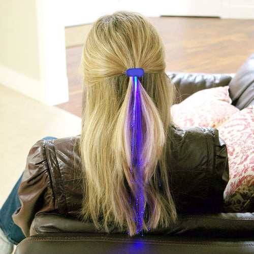 Light-up Fiber-Optic Hair Barrette, Set of 8, Blue
