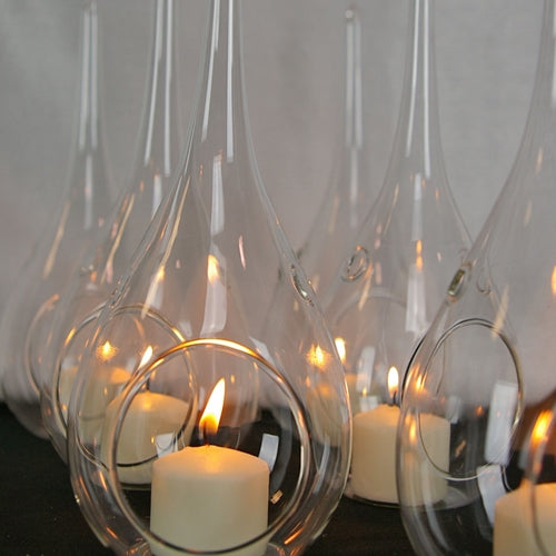 Glass Raindrop Candle Holder, Hanging or Table Top, 6 Pack