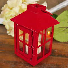 Square Metal Hurricane Lantern for Tea Lights, Cross Pattern, RED