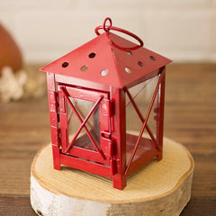 Small Square Metal Hurricane Lantern with Door, Glass Sides, RED