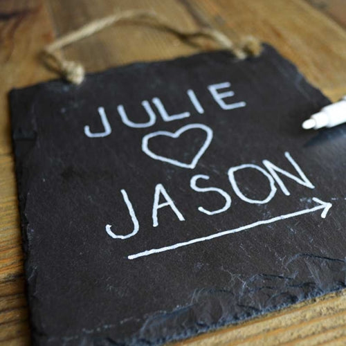 Slate Rectangle Chalkboard Sign, Twine Hanger, Blackboard, Set of 3