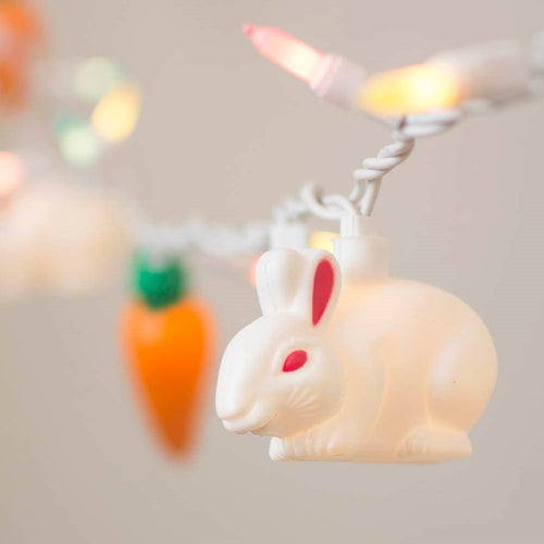 Easter String Lights, Bunny Rabbits & Carrots, 50 Bulbs, White Wire, Plug In