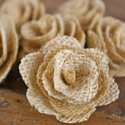 Burlap Flowers, 2 inch flowers, 6 pieces per package, CREAM