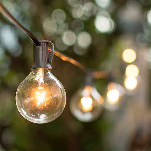 Globe String Lights, 2 in. Bulbs, 50 ft. Black wire, Outdoor, Clear