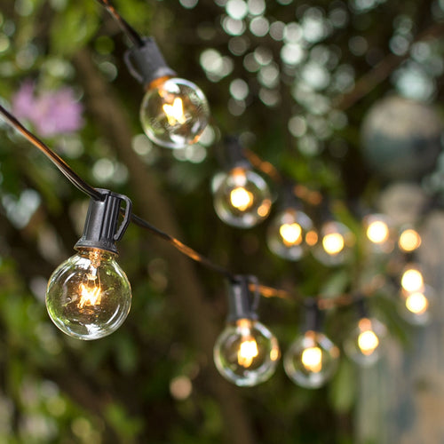 Globe String Lights, 1.5 Inch E12 Bulbs, 100 Foot Black Wire C7 Strand, Clear