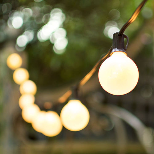 Globe String Lights, 2 Inch E12 Bulbs, 100 Foot Black Wire C7 Strand, Pearl