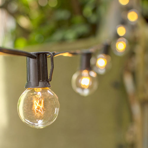 Globe String Lights, 1.5 in. Bulbs, 50ft. Black Wire, Outdoor, Clear