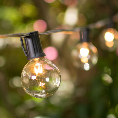 Globe String Lights, 2 Inch E12 Bulbs, 50 Foot Brown Wire C7 Strand, Clear