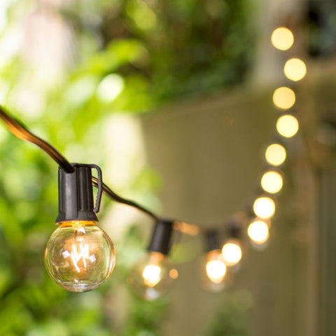 Globe String Lights, 2 in. Bulbs, 50ft. Black Wire, Outdoor, Clear