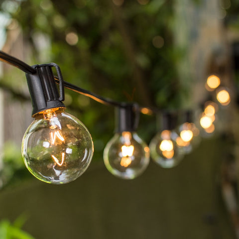 Globe String Lights, 1.5 Inch E12 Bulbs, 11 Foot Brown Wire C7 Strand, Clear