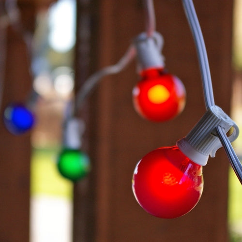 Globe String Lights, 1.5 Inch E12 Bulbs, 25 Foot White Wire C7 Strand, Multi Color
