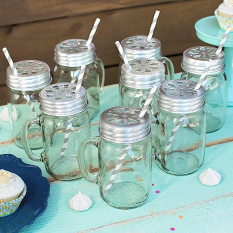 Mason Jar Drinking Mugs with Lids & Party Straws, Black, Set of 24