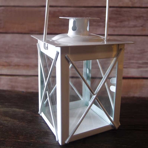 Hurricane Lantern, Small 3.75 inch, Metal with Glass Sides, White