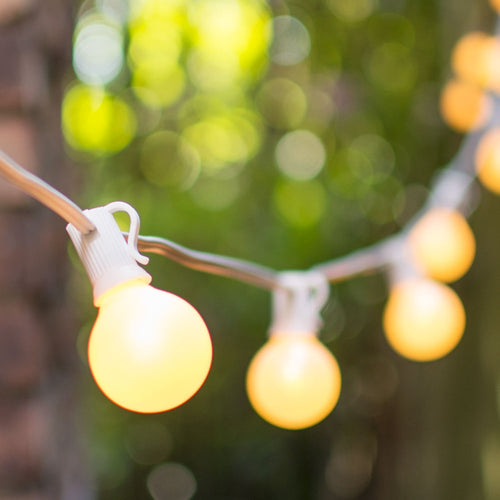 Globe String Lights, 1.5 in. E12 Bulbs, 25 ft. White Wire C7 Strand, Pearl