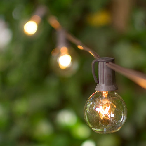 Globe String Lights, 1.5 Inch E12 Bulbs, 25 Foot Brown Wire C7 Strand, Clear