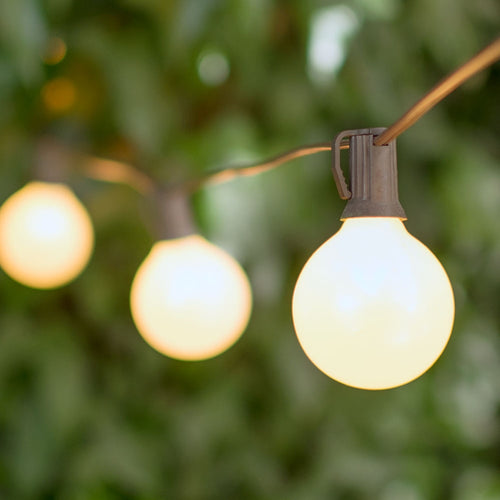 Globe String Lights, 2 Inch E12 Bulbs, 25 Foot Brown Wire C7 Strand, Pearl