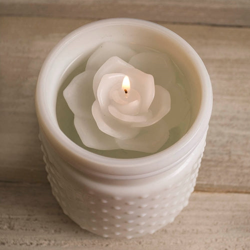 Floating Rose Flower Candle with Traditional Wick, 3 inch, WHITE