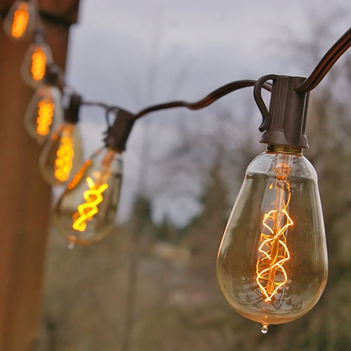 Vintage Bulb String Lights, 25 ft. Brown Wire, ST15 Spiral Bulb