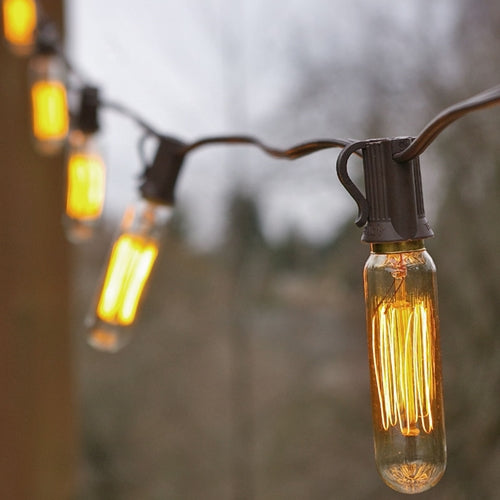 Vintage Bulb String Lights, 25 Foot Brown Wire, T6 Tubular Bulb
