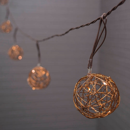 Copper Wire Ball LED Fairy Lights, Battery Operated, 7 Ft Brown Wire, Timer, White