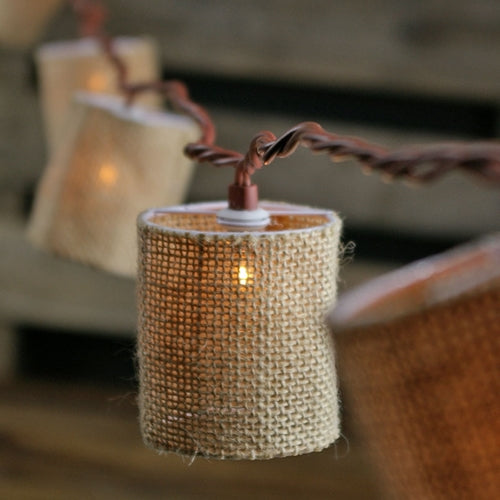 Burlap Lantern Patio String Lights, 7 ft, 10 Warm White Bulbs, Plug In