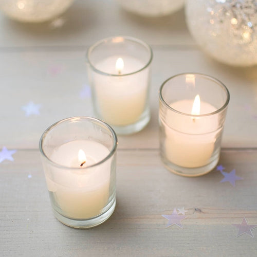 Round Glass Wax Filled Votive Candle, 2.5 in., Event Pack of 25, Ivory