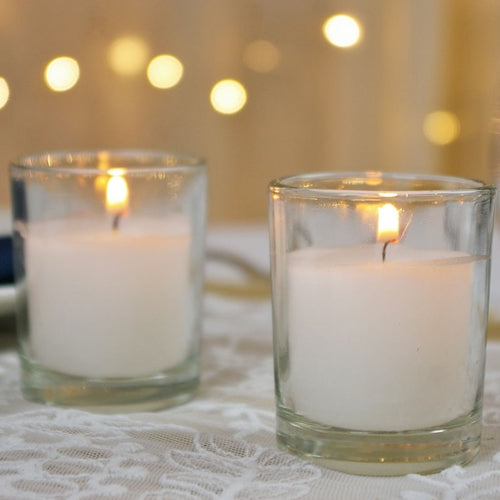 Round Glass Wax Filled Votive Candle, 2.5 in., Event Pack of 25, White