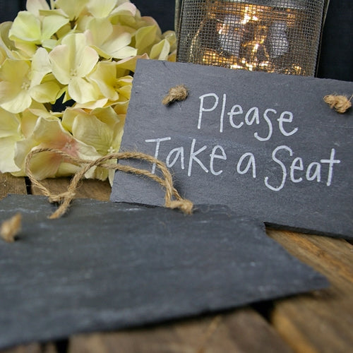 Slate Rectangle Chalkboard Sign, 6 x 4 inches, Twine Hanger, Set of 3