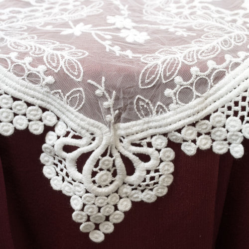 White Lace Table Runner, Vintage Wedding Decor, 12 x 74 inches