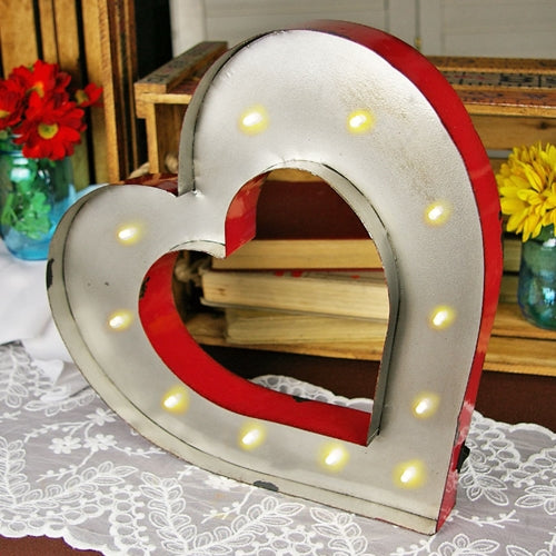 Marquee LED Light, Metal Heart Sign, Industrial, Battery Operated, 14 Inch