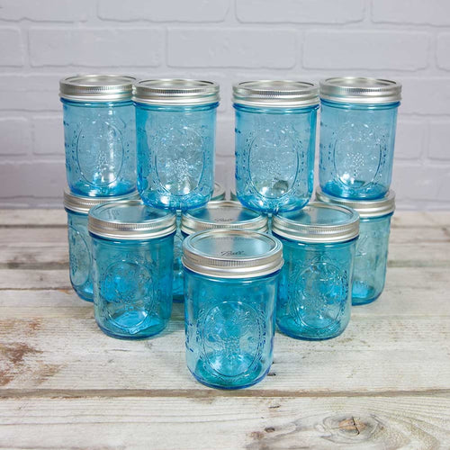 Mason Jars With Lids, Wide Mouth Pint, 16 oz, Blue, 12 Pack
