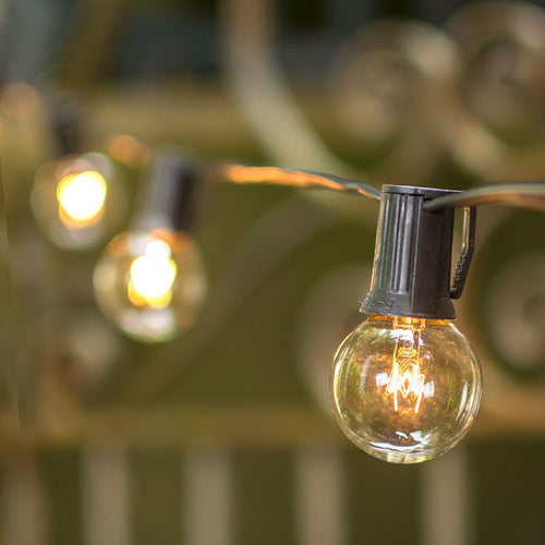 Globe String Lights, 1.5 in. Bulbs, C9, 25 ft. Black Wire, Outdoor, Clear