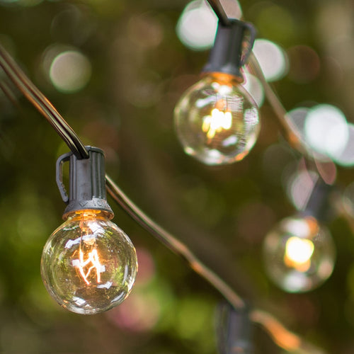 Globe String Lights, 1.5 Inch E12 bulbs, 25 Foot Black Wire C7 Strand, Clear