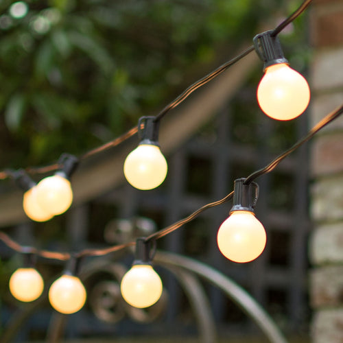 Globe String Lights, 1.5 Inch E12 Bulbs, 25 Foot Black Wire C7 Strand, Pearl
