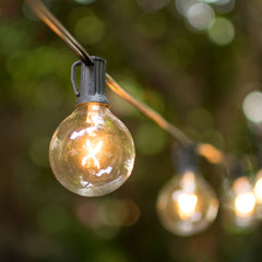Globe String Lights, 2 Inch E12 Bulbs, 25 Foot Black Wire C7 Strand, Clear
