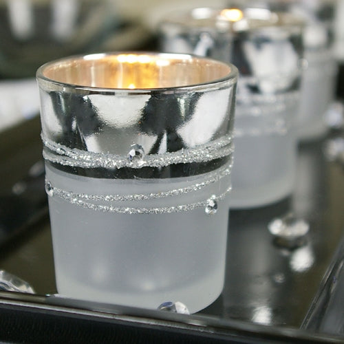Silver Plated Glass Votive Candle Holders, Rhinestone Gems, Set of 12